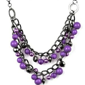 Gunmetal with purple pearl necklace w  necklace